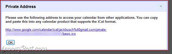Google Calendar Private Address