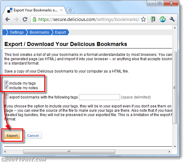 include tags and notes / description in delicious bookmarks backup
