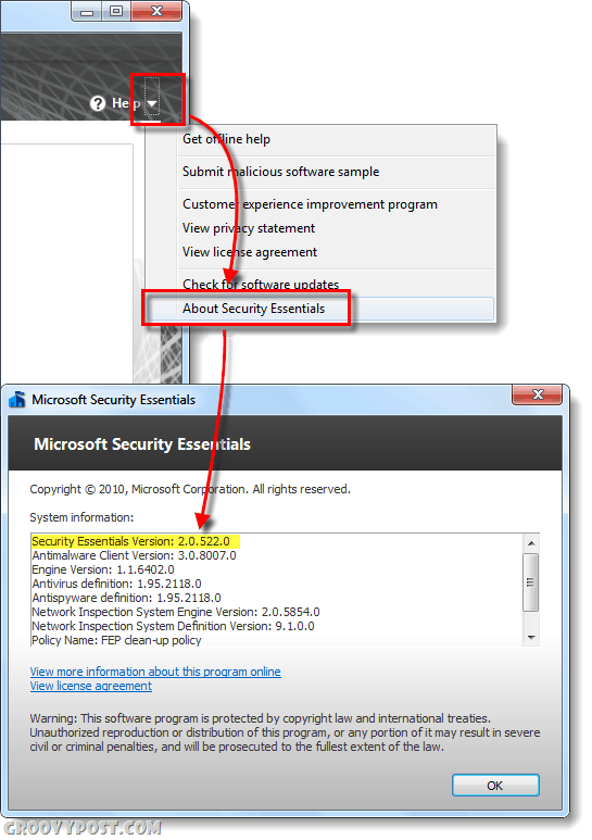 check what version of microsoft security essentials you are running