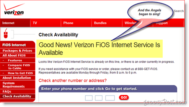 Verizon FIOS Available :: groovyPost.com