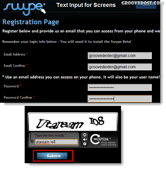 swype submit captcha