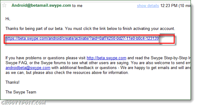 swype activation link