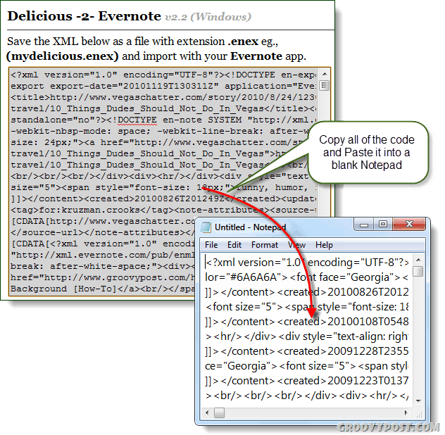 copy delicious 2 evernote converted xml into notepad