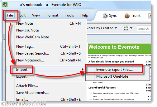 import delicious bookmark into evernote