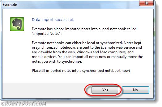 data import succesful evernote
