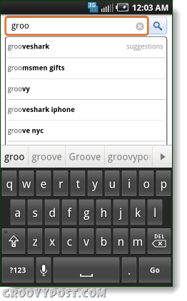 search google using gingerbread android keyboard on eclair or froyo