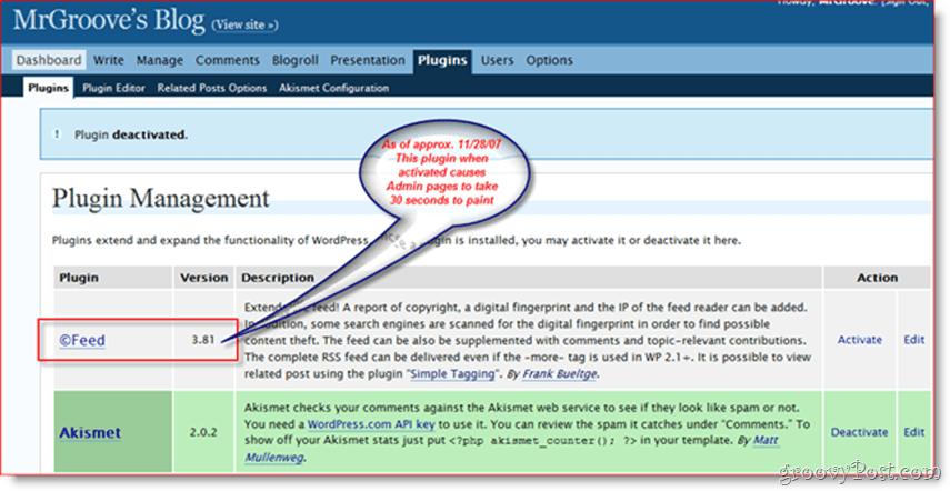 Slow WordPress Admin Page