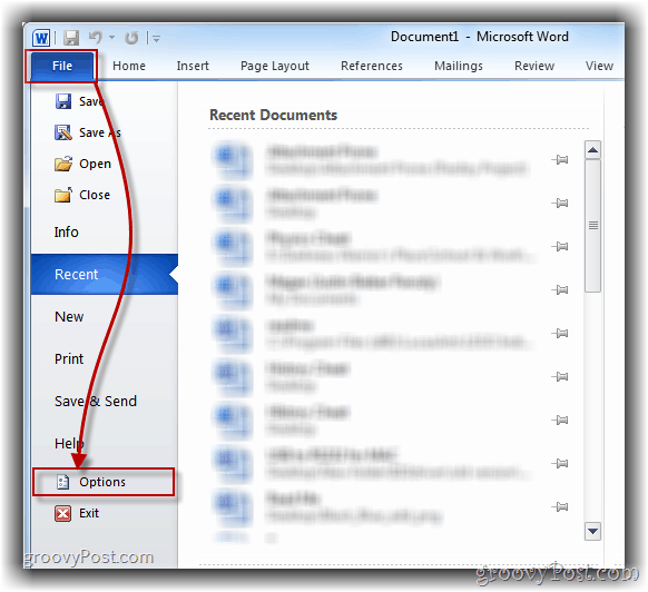 How-To Open Word 2010 Options Menu