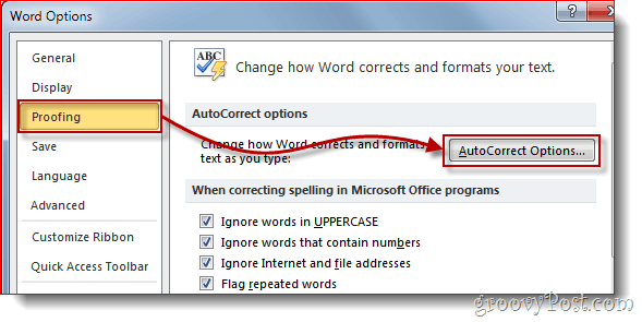 Word 2010 Proofing Menu