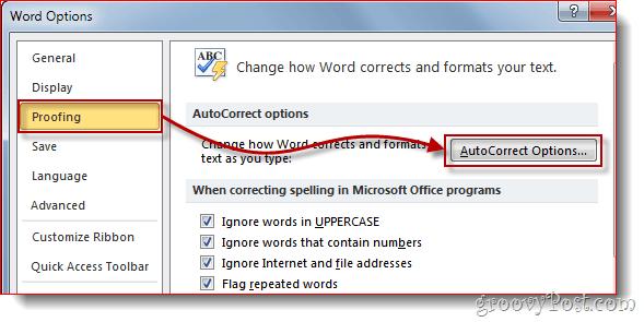 Word 2010 Proofing Menu