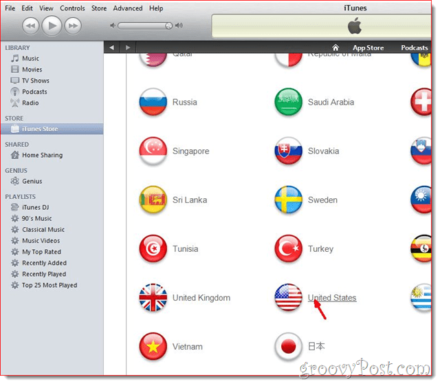 iTunes - Click United State Flag
