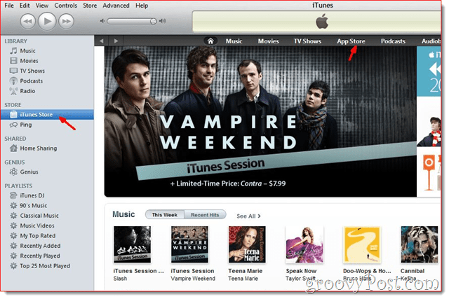 iTunes - Click iTunes Store to create an account