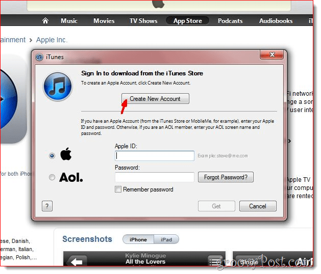 iTunes - Click Create new account