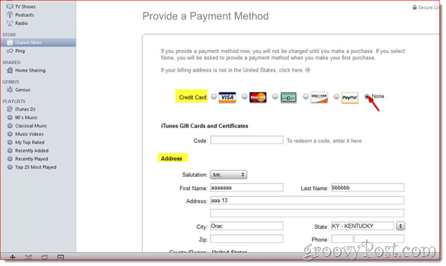 iTunes - Edit Credit card and address