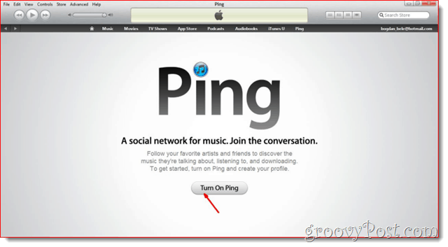 iTunes - Click Turn on Ping