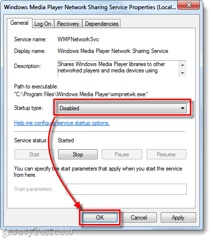 windows media player startup type disabled