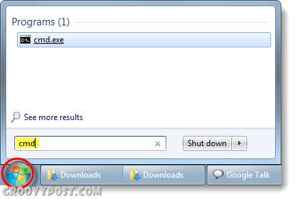 launch cmd from start menu in windows 7