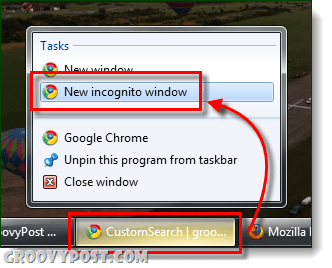 taskbar incognito chrome launch