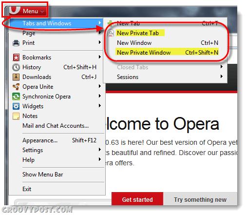 Opera private browsing
