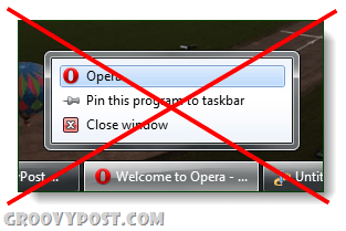 opera unable to private browse from jump list windows 7