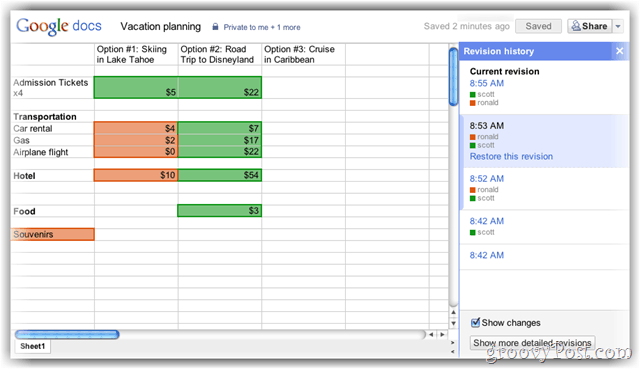 Google spreadsheets revision history demo