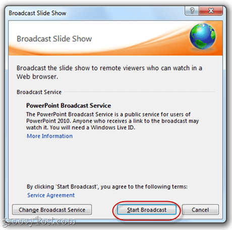 PowerPoint 2010 Live Broadcast Slide Show