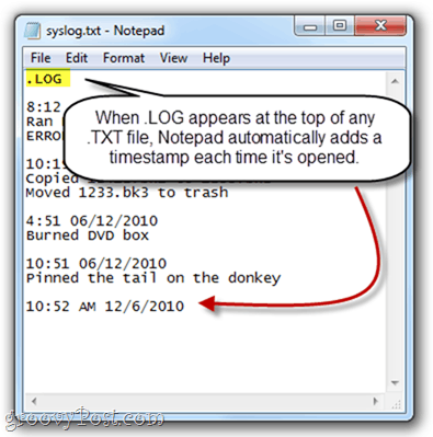 Create .LOG timestamp with Notepad