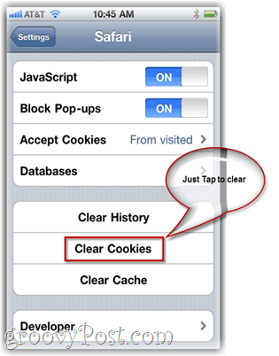 Clear iPhone Cookies
