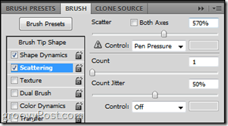 photoshop scattering brush