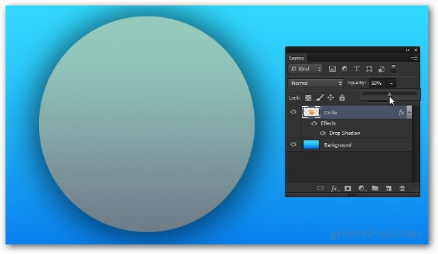 opacity down to 50 percent photoshop example