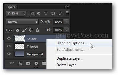 blending options access from context menu photoshop tutorial