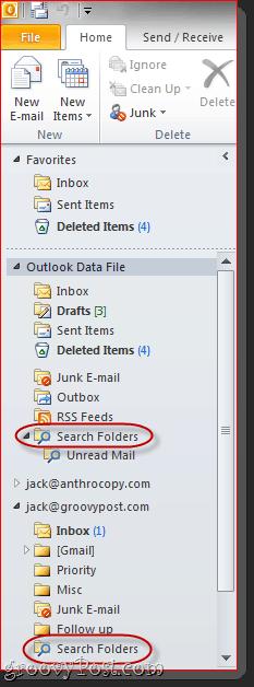 Outlook 2010 Search Folders