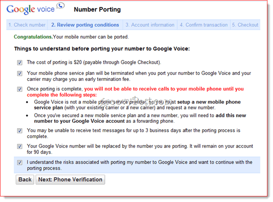 Port Existing Number to Google Voice