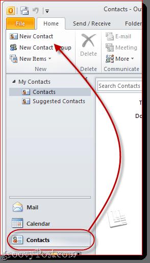 Create a vCard in Outlook 2010