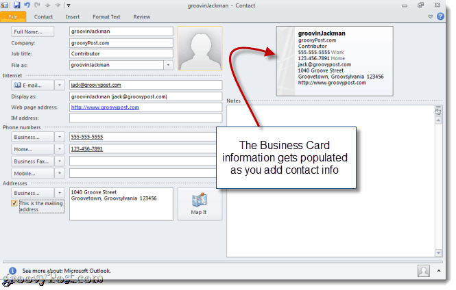 Create a vCard in Outlook 2010