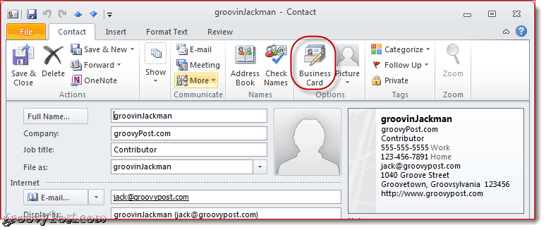 Edit Business Card in Outlook 2010