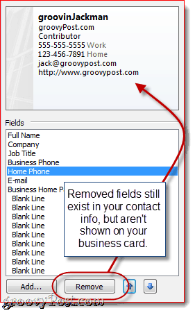 Customize Fields in Outlook 2010 vCard