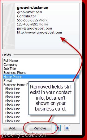 Customize Fields in Outlook 2010 vCard