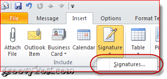 Attach Business Card in Outlook 2010 Email Signature
