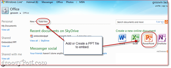 Share PPT and XLS from SkyDrive