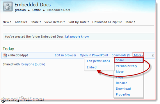 Embed SkyDrive Documents
