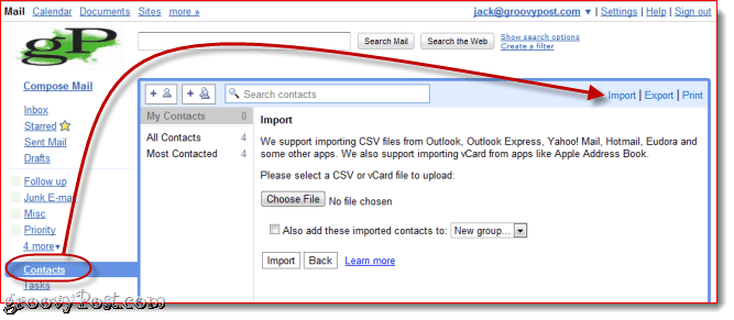 Import VCF in Gmail