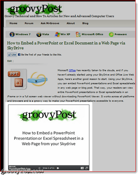 PowerPoint Embedded in Web Page