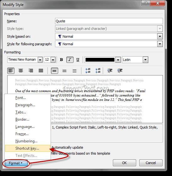 Custom Style Keyboard Shortcuts Word 2010