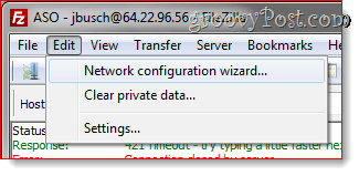 Filezilla Network Configuration wizard