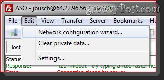 Filezilla Network Configuration wizard