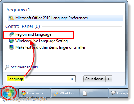 launch region and language control panel in windows 7