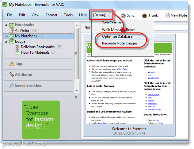 optimize evernote database