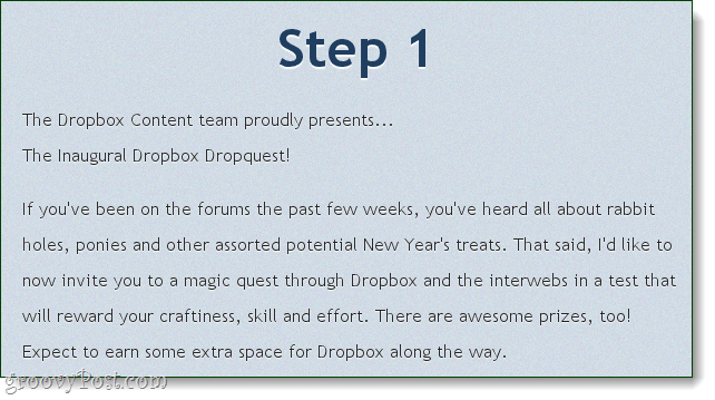 dropbox step 1 dropquest
