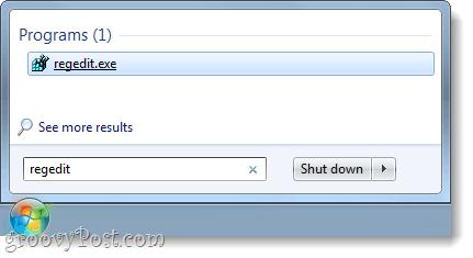 open regedit in windows 7